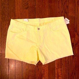 NWT Lemon Yellow Denim Shorts Sz 14